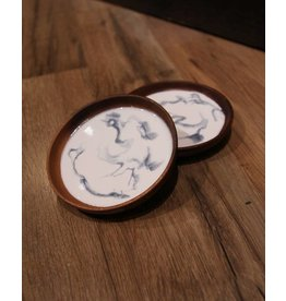 Kris Marks Wood Coaster set/2 with Resin Inlay Blue & White