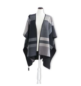 K & K Interiors Grey Plaid Reverses to Black Soft Touch Woven Cape