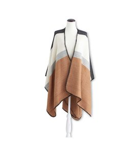 K & K Interiors Rust/Grey/Cream Color Block Cape w/ Stitched E