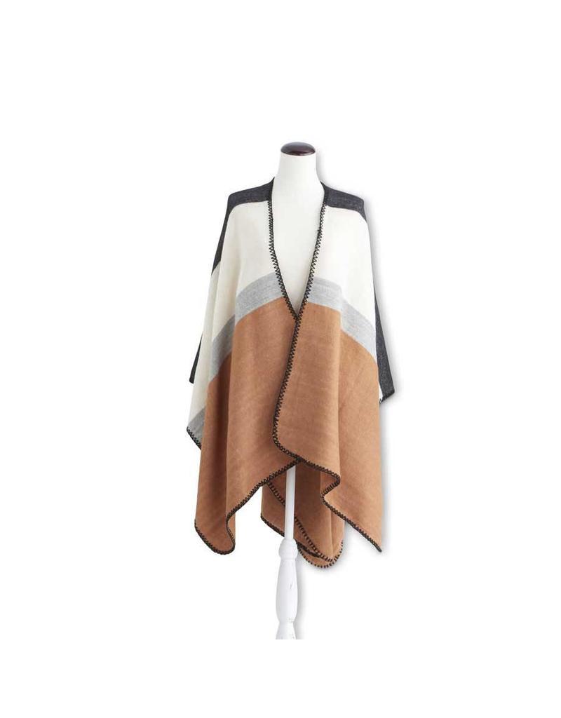 K & K Interiors Rust/Grey/Cream Color Block Cape w/ Stitched E