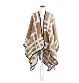 K & K Interiors Brown/Cream w/ Black Edging Reversible Woven Cape