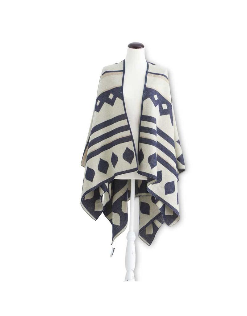 K & K Interiors Blue/Cream Woven Cape w/ Faux Leather Edge
