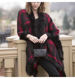 K & K Interiors Red Plaid Fur Cape