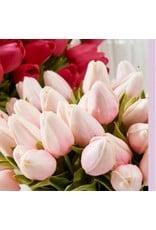 "K & K Interiors 10.5"" Pink Real Touch Mini Tulip Stem"