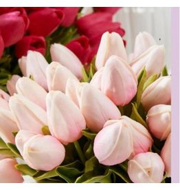 "K & K Interiors 10.5"" Pink Real Touch Mini Tulip Stem"