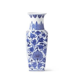 "K & K Interiors 14"" Porcelain Blue & White Chinoiserie Square  Vase"