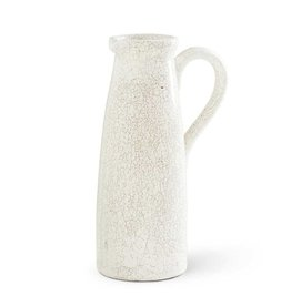 "K & K Interiors 14"" White Ceramic Crackled Pitcher"