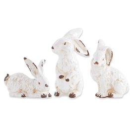 "K & K Interiors 7"" Asst Vintage White Ceramic Bunnies"