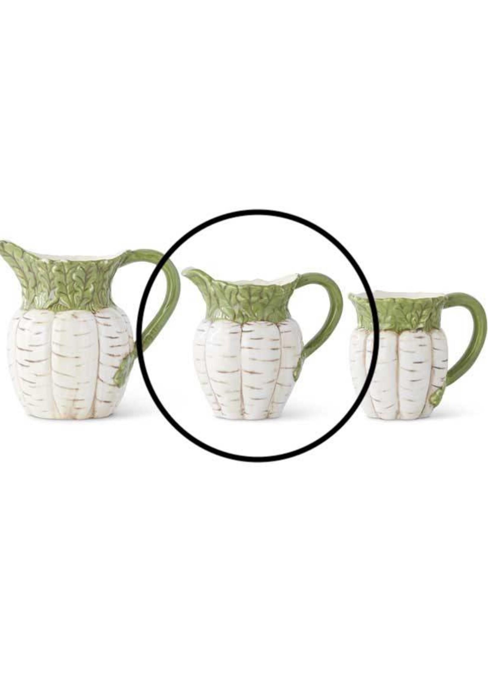 "K & K Interiors 7.25"" Ceramic White Carrot Pither w/ Green Top"
