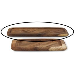 K & K Interiors Carved Rectangular Wood Tray Long