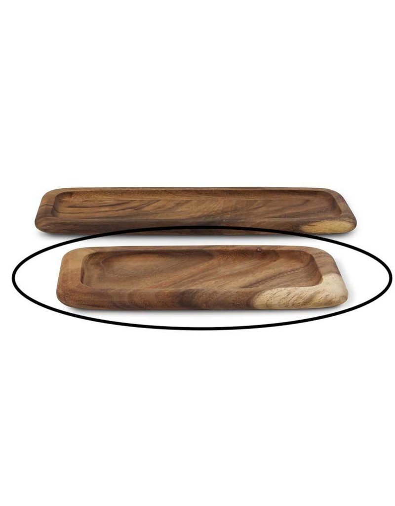 K & K Interiors Carved Rectangular Wood Tray Small