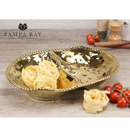 Pampa Bay 2 Section Serving Dish Gold