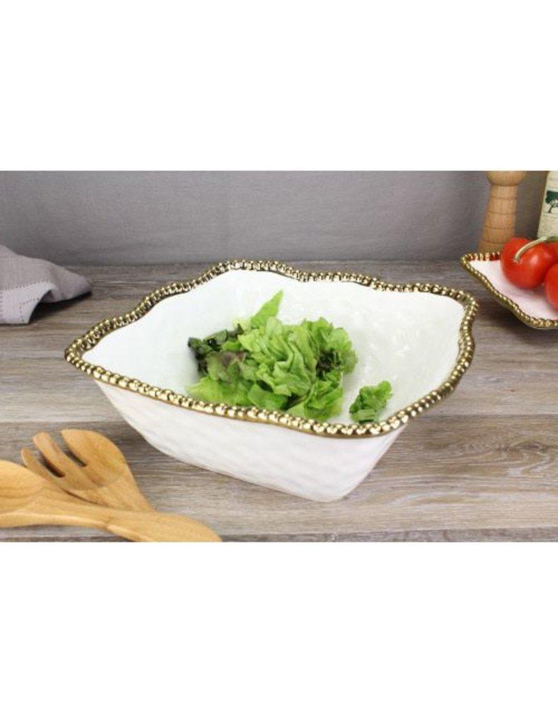 Pampa Bay Large Square Salad Bowl White / Gold