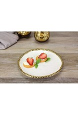 Pampa Bay Round Appetizer/Dessert Plate White/ Gold