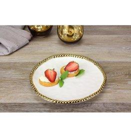 Pampa Bay Round Appetizer/Dessert Plate White/ Gold