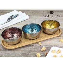 Pampa Bay Set/3 Colored Glass Bowls & Tray