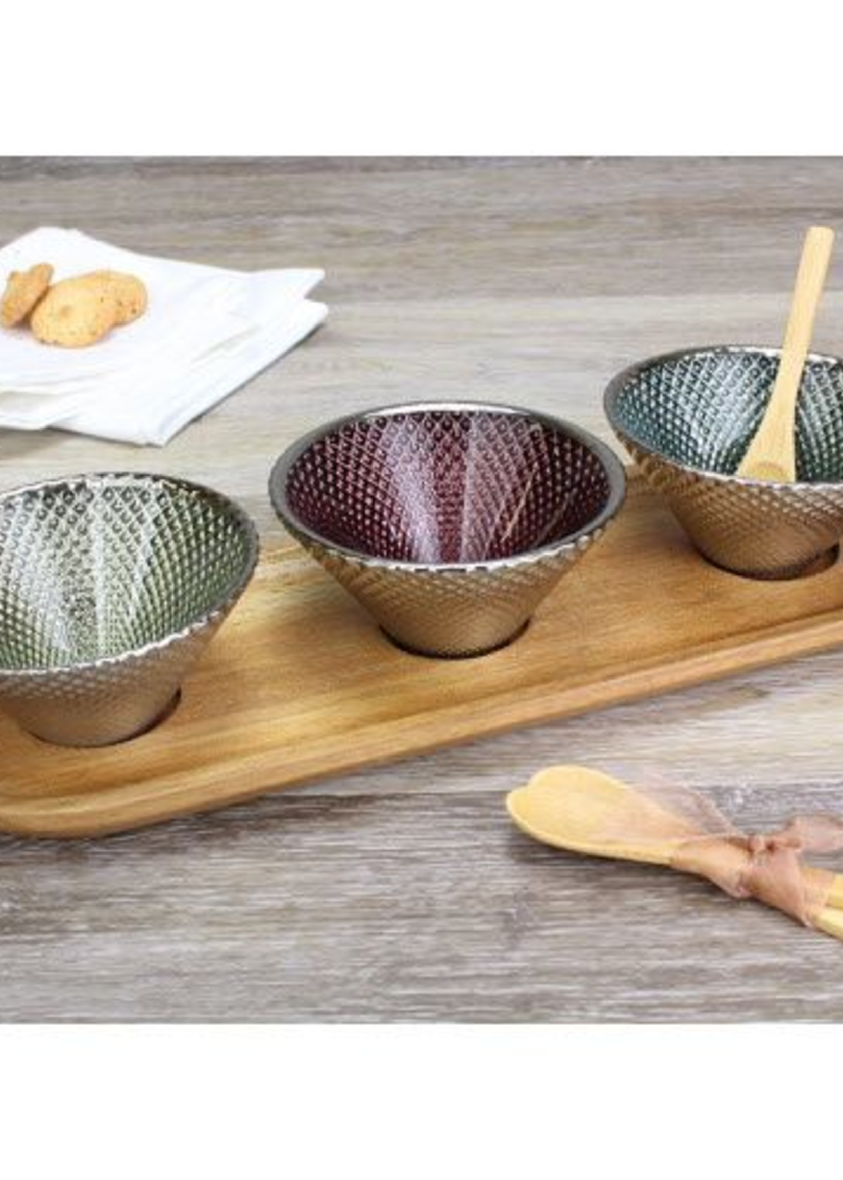 Pampa Bay Set/3 Colored Glass Bowls & Tray w/ Spoons
