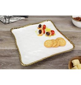 Pampa Bay Square Serving Platter White / Gold