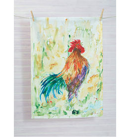 April Cornell Rooster Watercolor Tea Towel Purple Belly