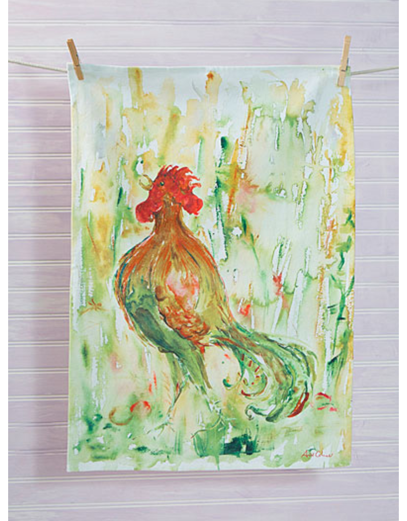 April Cornell Rooster Watercolor Tea Towel Green Tail