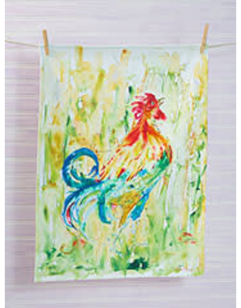 April Cornell Rooster Watercolor Tea Towel Blue Tail