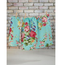 April Cornell Cottage Rose Tea Towel Aqua