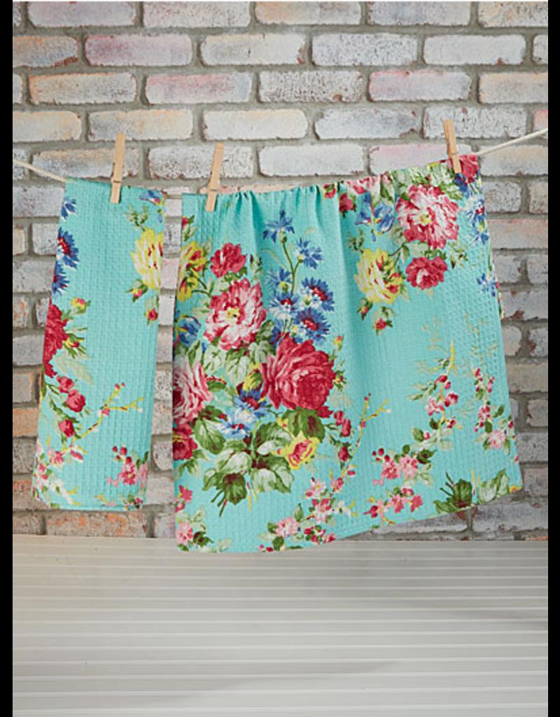 April Cornell Cottage Rose Tea Towel Aqua