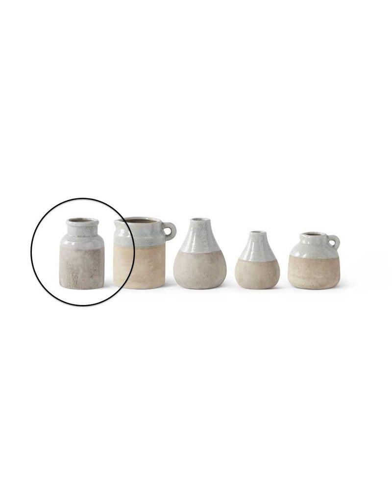 K & K Interiors 6 Inch Ceramic Pot with Lt. Blue Top