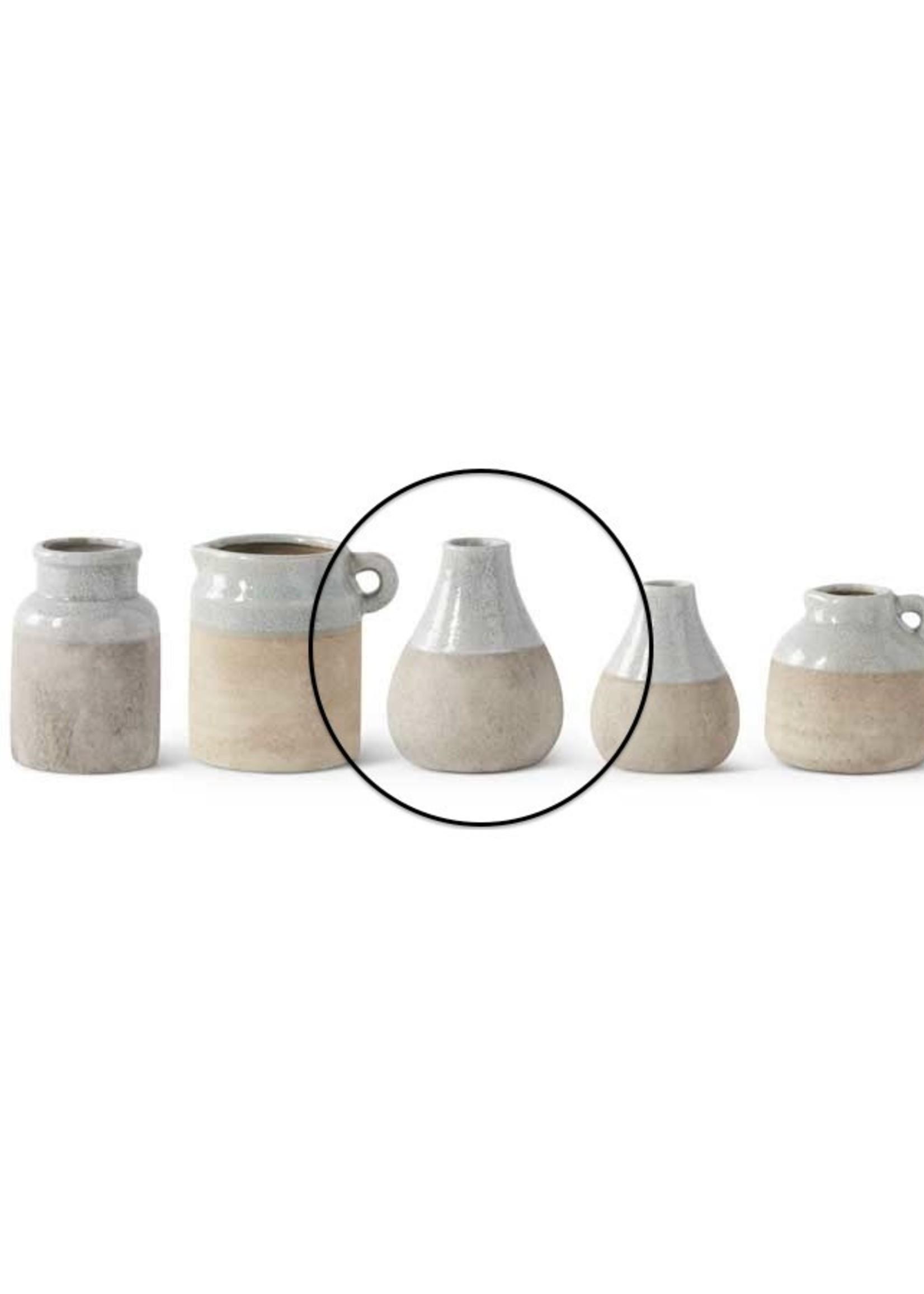 K & K Interiors 6 inch Ceramic Vase with Lt. Blue Top