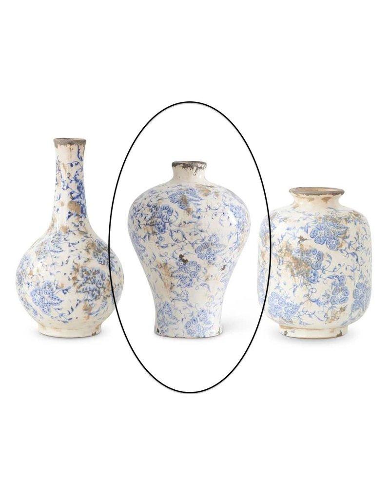 K & K Interiors 7.75 Inch Blue and White Ceramic Vase