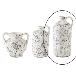 K & K Interiors 13 inch Antique White Acid Crackle Jug