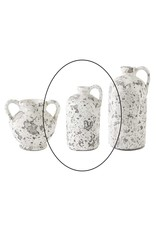 K & K Interiors 10.5 inch Antique White Acid Crackle Jug