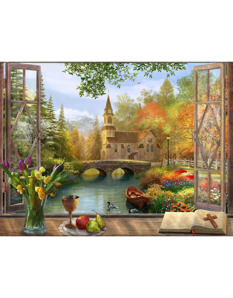 Vermont Christmas Company Autumn Church Jigsaw Puzzle 550 piece
