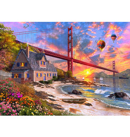 Vermont Christmas Company Golden Gate Sunset Jigsaw Puzzle 1000 Piece