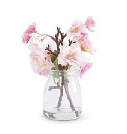 "K & K Interiors 6.5"" Pink Cherry Blossom in Glass Jar"