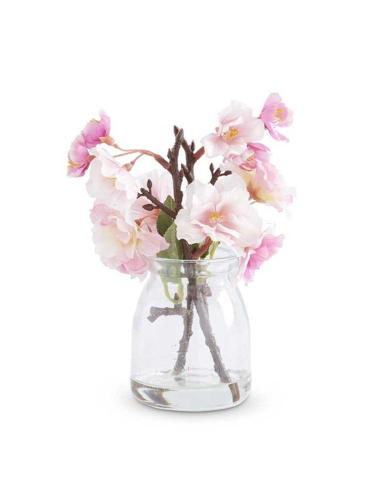 "K & K Interiors 6.5"" Pink Cherry Blossom in Glass Jar"