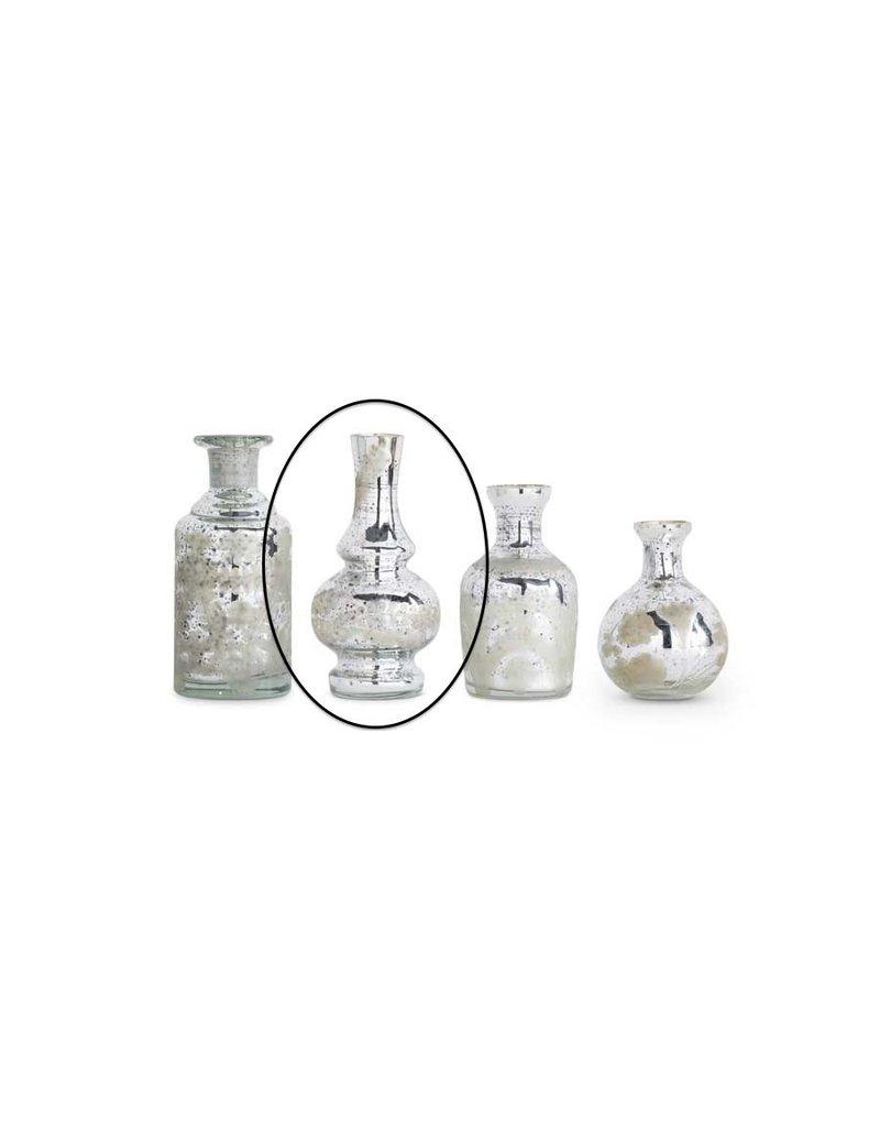 "K & K Interiors 6"" Small Mercury Glass Bud Vase w/ Etching"