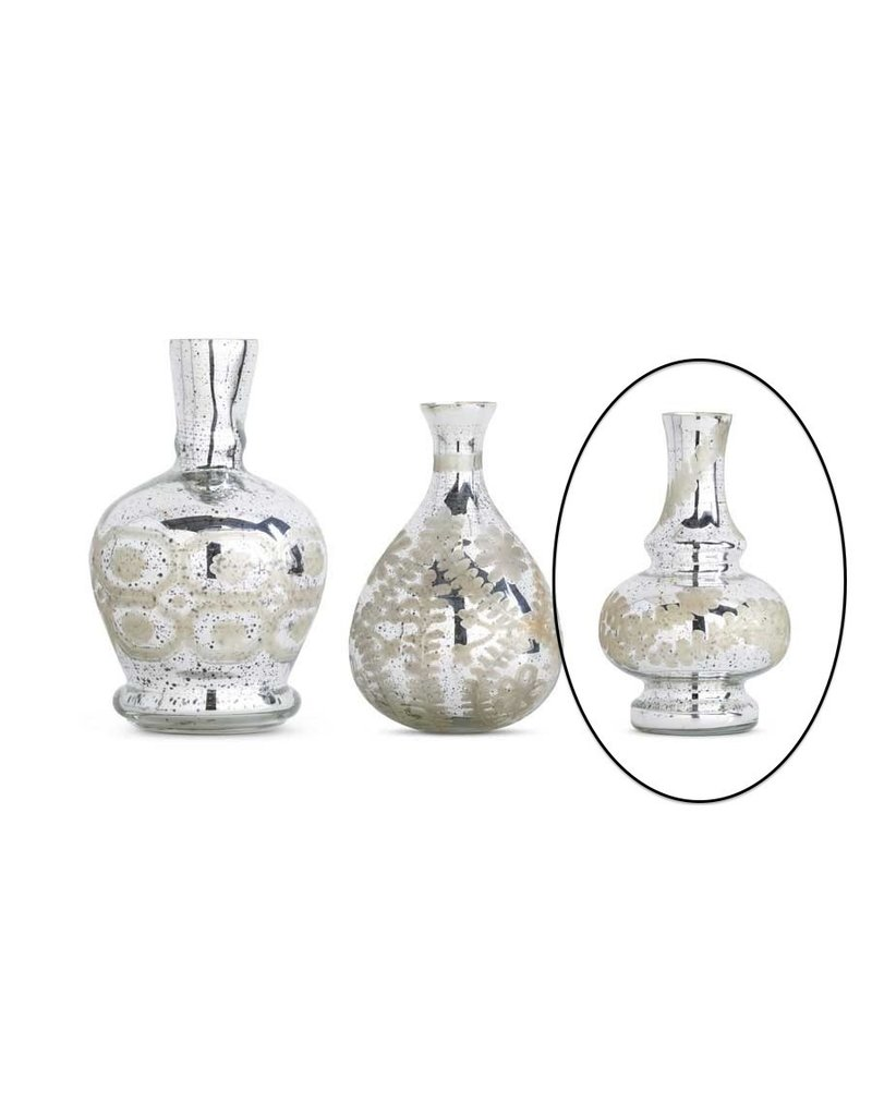 "K & K Interiors 7.5"" Fluted Large Mercury Glass Vase w/ Etching"