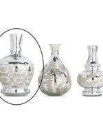 "K & K Interiors 9"" Large Mercury Glass Vase w/ Etching"