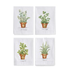 K&K Oregano Herb in Pot Hand Painted Cotton Guest Towel