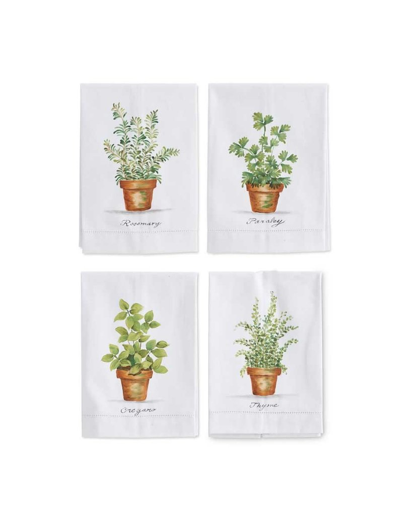 K & K Interiors Oregano Herb in Pot Hand Painted Cotton Guest Towel