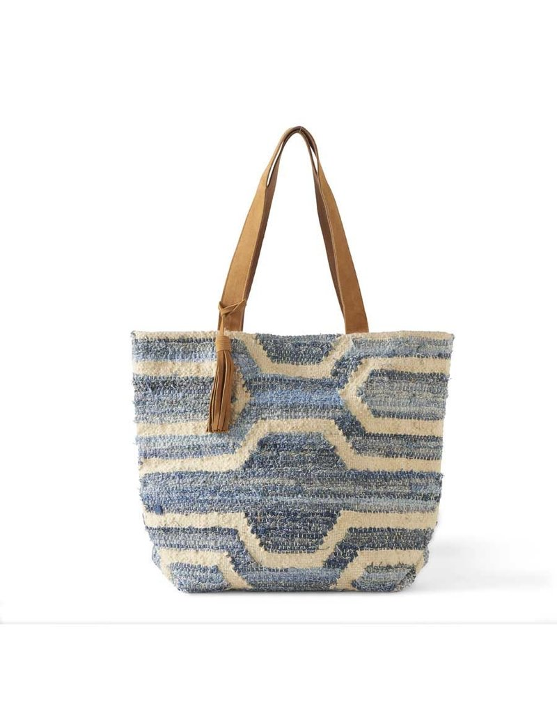 K & K Interiors Woven Denim Blue/Cream w/ Leather Trim & Tassel Tote