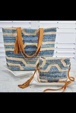 K & K Interiors Woven Denim Blue/Cream w/ Leather Trim & Tassel Crossbody