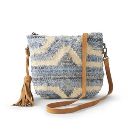 K & K Interiors Woven Denim Blue/Cream w/ Leather Trim & Tassel Crossbody