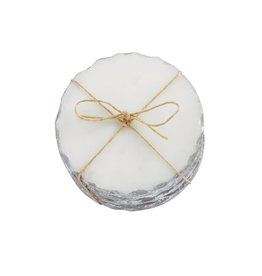 Mud Pie Silver Marble Foil Coaster Set/4