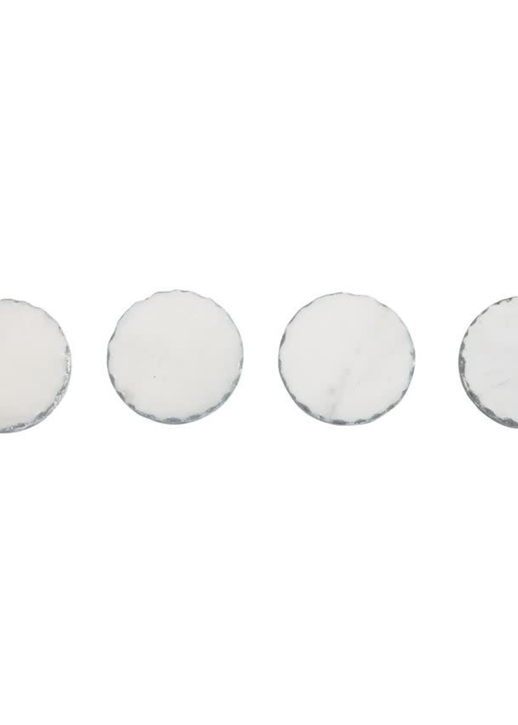 Mud Pie Silver Marble Foil Coaster Set/4