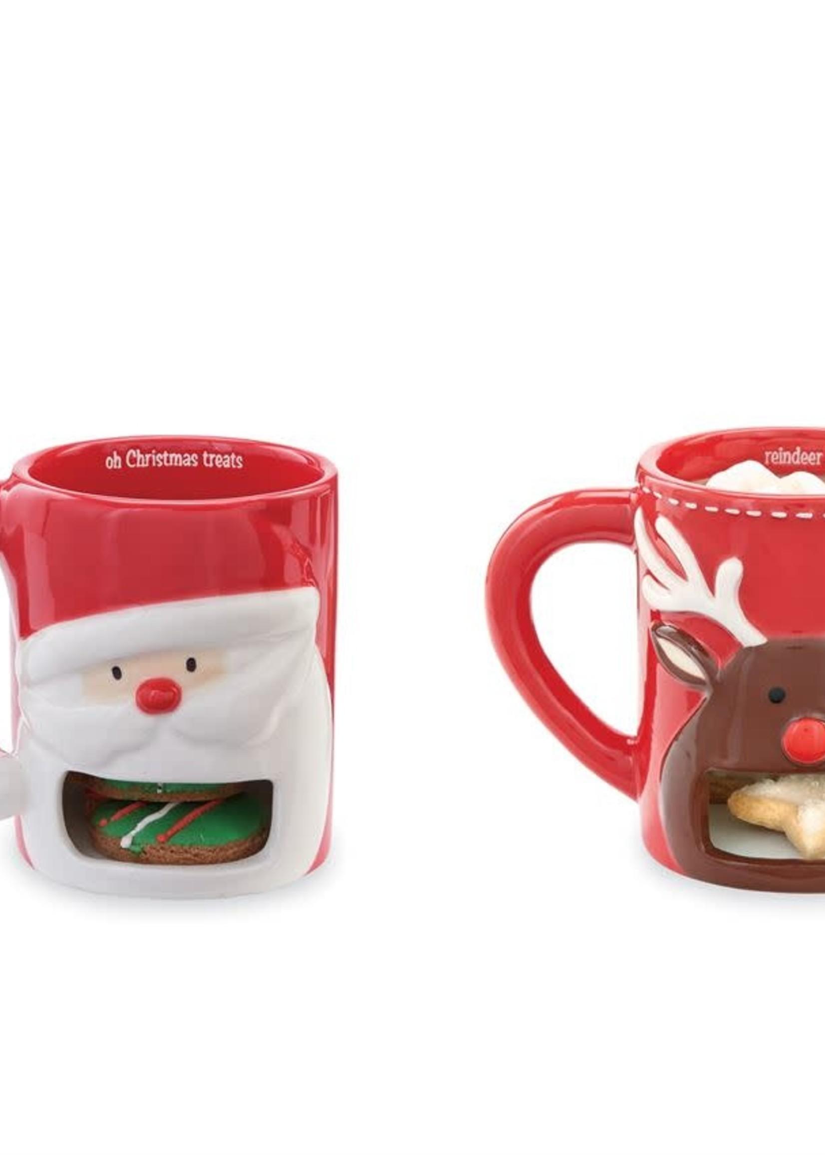 Mud Pie Christmas Cookie Holder Mug Reindeer