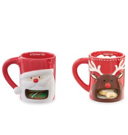 Mud Pie Christmas Cookie Holder Mug Santa