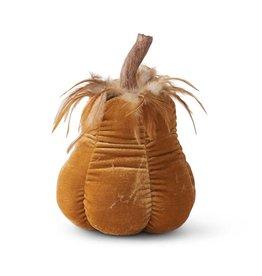 K&K 9.5 Inch Goldenrod Velvet Stuffed Gourd w Resin Stem and Feathers