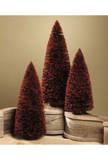 Bethany Lowe Designs Black Bottle Brush Tree w/ Orange Glitter s/3